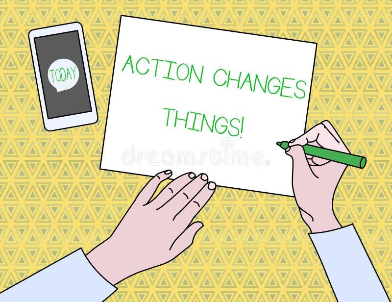 Das Textzeichen, das Aktion zeigt, ?ndert Sachen Begriffsfotoanfang, der etwas gegen Problembeschlu? oder ihn erzielen tut lizenzfreie abbildung