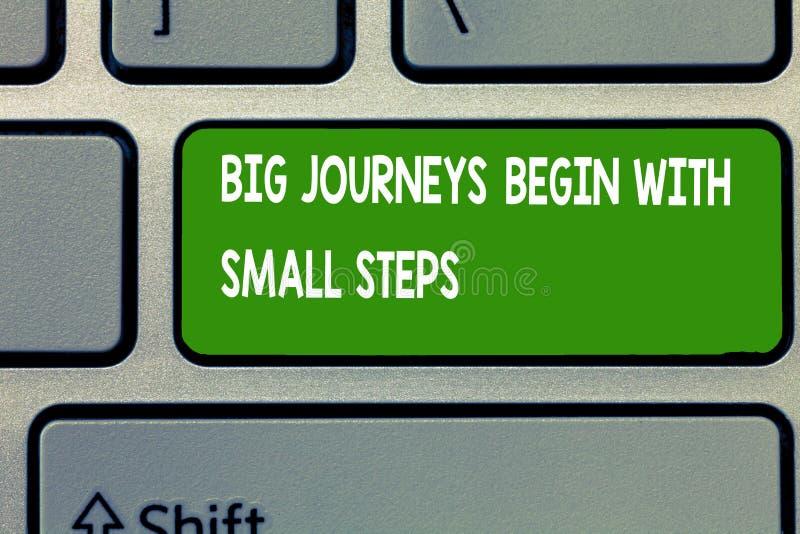 Das Textzeichen, das große Reisen zeigt, fangen mit kleinen Schritten an Begriffsfoto beginnen oben ein neues Unternehmen lizenzfreie stockfotos