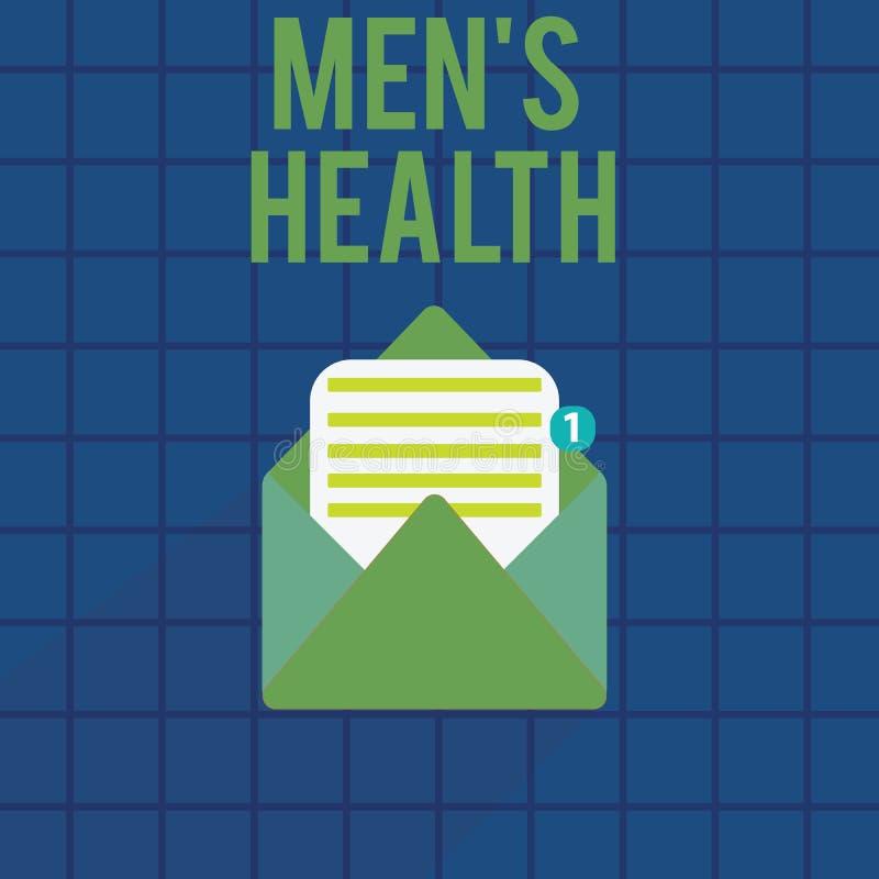 Das Textzeichen, das Männern s zeigt, ist Gesundheit Begriffsfoto Zustand des kompletten körperlichen und Geisteswohls der Männer lizenzfreie abbildung