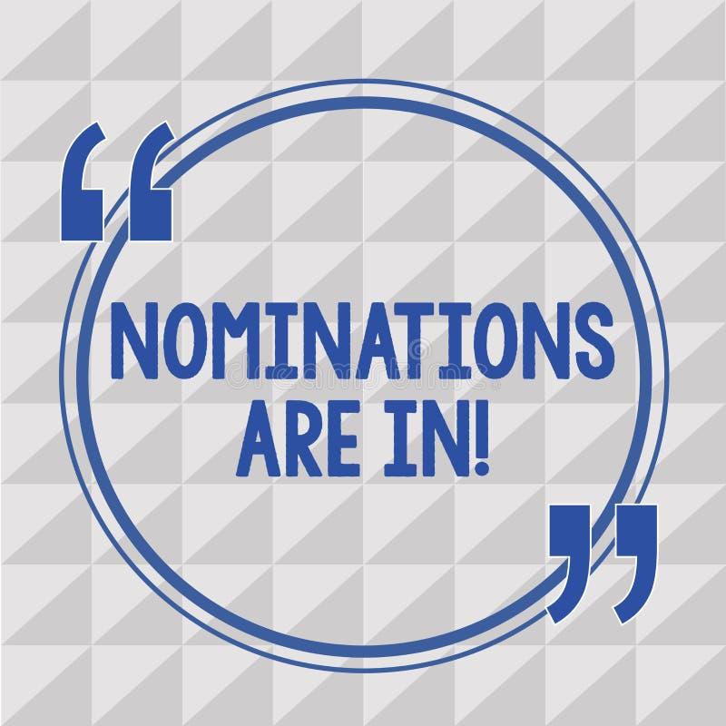 Das Textzeichen, das Nominierungen zeigt, sind herein Begriffsfoto, das formal jemand offizieller Kandidat für einen Preis wählt stock abbildung
