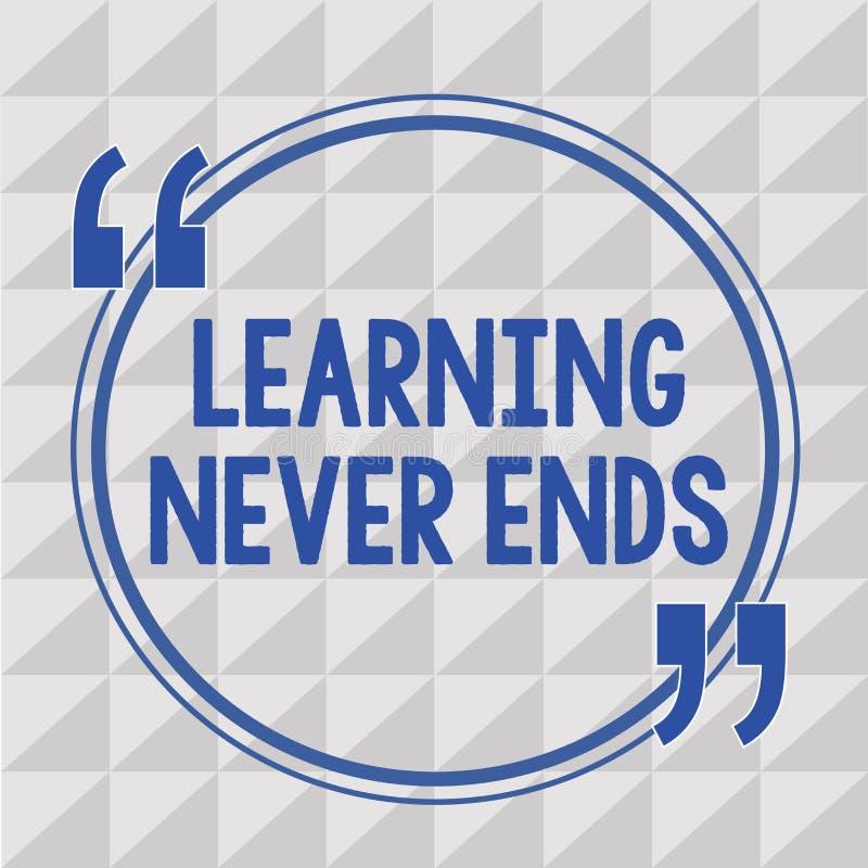 Das Textzeichen, welches das Lernen beendet zeigt nie Begriffsfoto Leben lang pädagogisch und Wellness-Gelegenheiten vektor abbildung