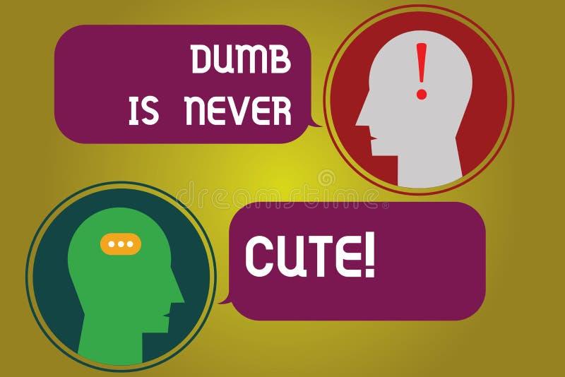 Das Textzeichendarstellen stumm ist nie nett Das Begriffsfoto, zum dummes ignorantes zu sein ist nie ein attraktive Eigenschaft B vektor abbildung