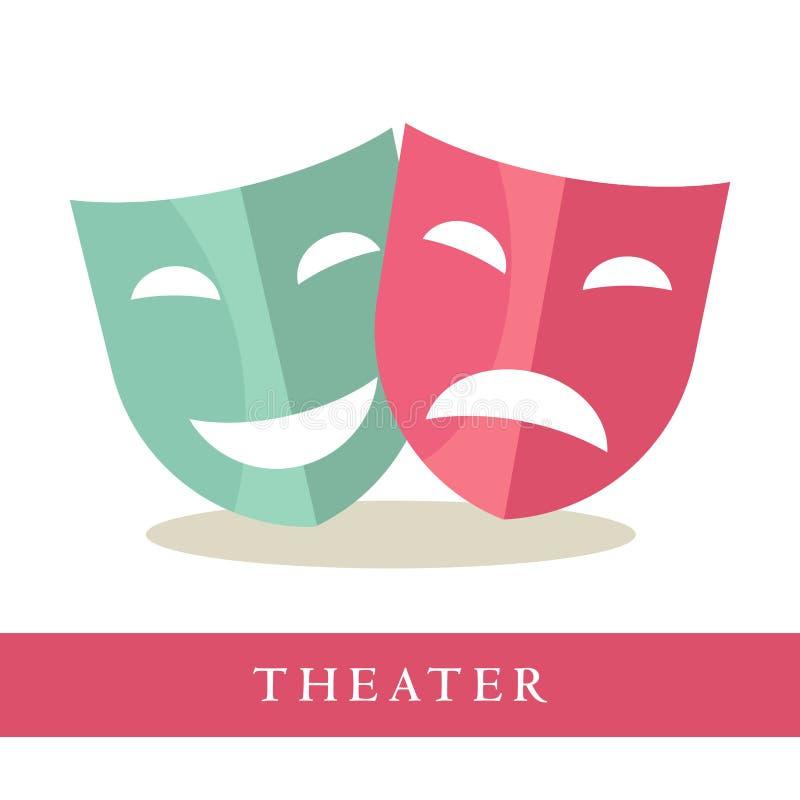 Das Theater, das rosa sind und das Blau maskiert die Ikonen, die auf weißem Hintergrund lokalisiert werden stock abbildung