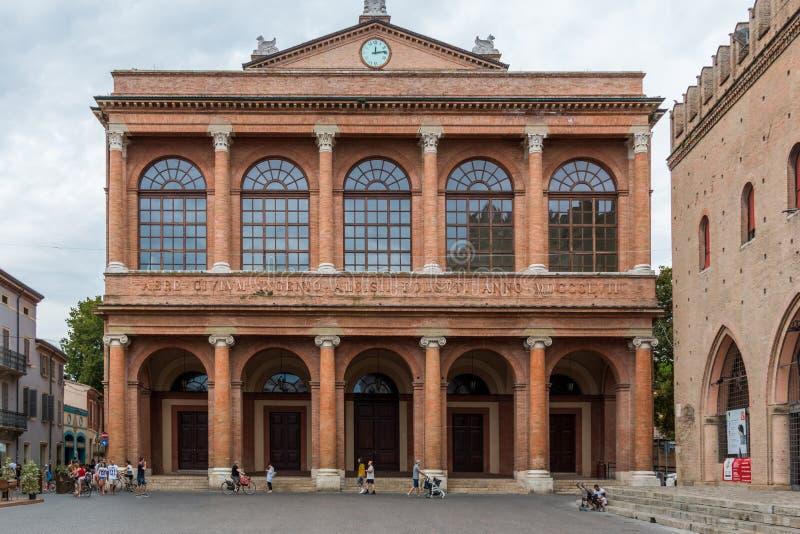 Das Theater Teatro Amintore Galli in Rimini, Marktplatz Cavour, Italien lizenzfreie stockfotografie