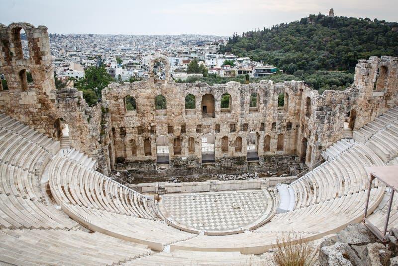 Das Theater von Herodions-Atticus unter den Ruinen der Akropolises, Athen, Griechenland stockfotografie