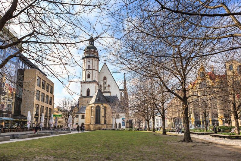 Das Thomaskirche von Leipzig stockbilder