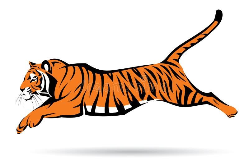 Das Tigerspringen stock abbildung