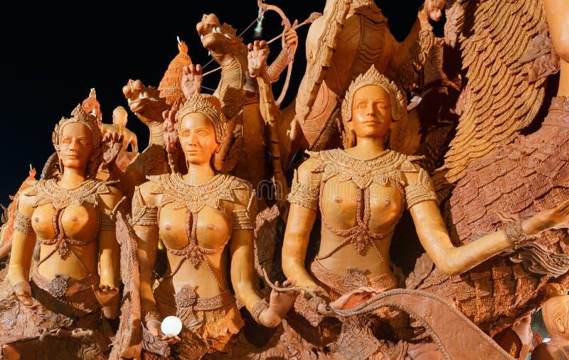 Das traditionelle Kerzenprozessionsfestival von Buddha stockfotos