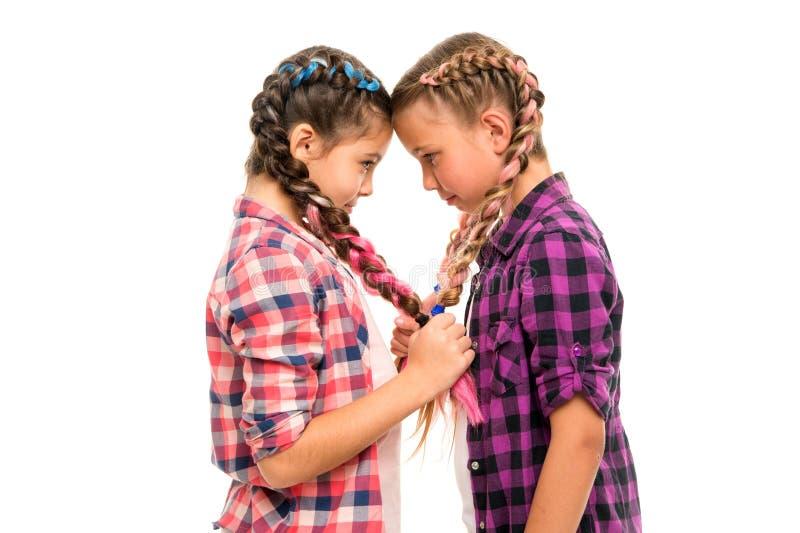 Das tranças similares do penteado dos amigos de meninas fundo branco Olhar da família das irmãs Penteado de Kanekalon Penteado lo foto de stock