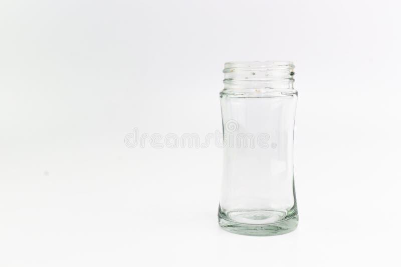 Das transparente Glas der Flasche mit einer Spirale auf die Oberseite stockbild