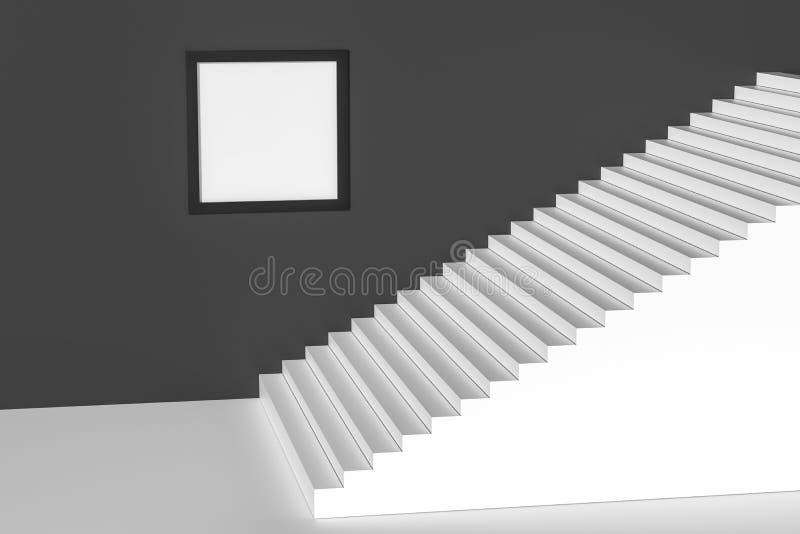 Das Treppenhaus im Tageslicht mit weißem Hintergrund, Wiedergabe 3d vektor abbildung