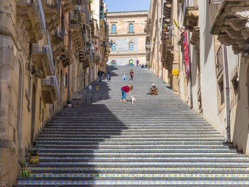 Das Treppenhaus von Caltagirone stockfoto