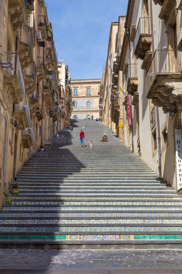 Das Treppenhaus von Caltagirone lizenzfreies stockbild