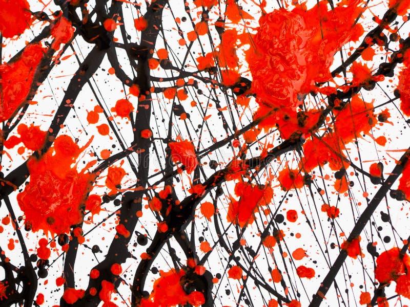Das Tropfen des flüssigen Heizöls der schwarzen und roten Farbe spritzt, Tropfen und Spur lizenzfreie abbildung