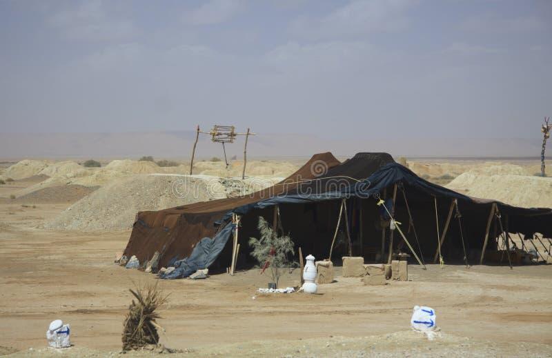 Tuaregnomadelager, Marokko stockfotos