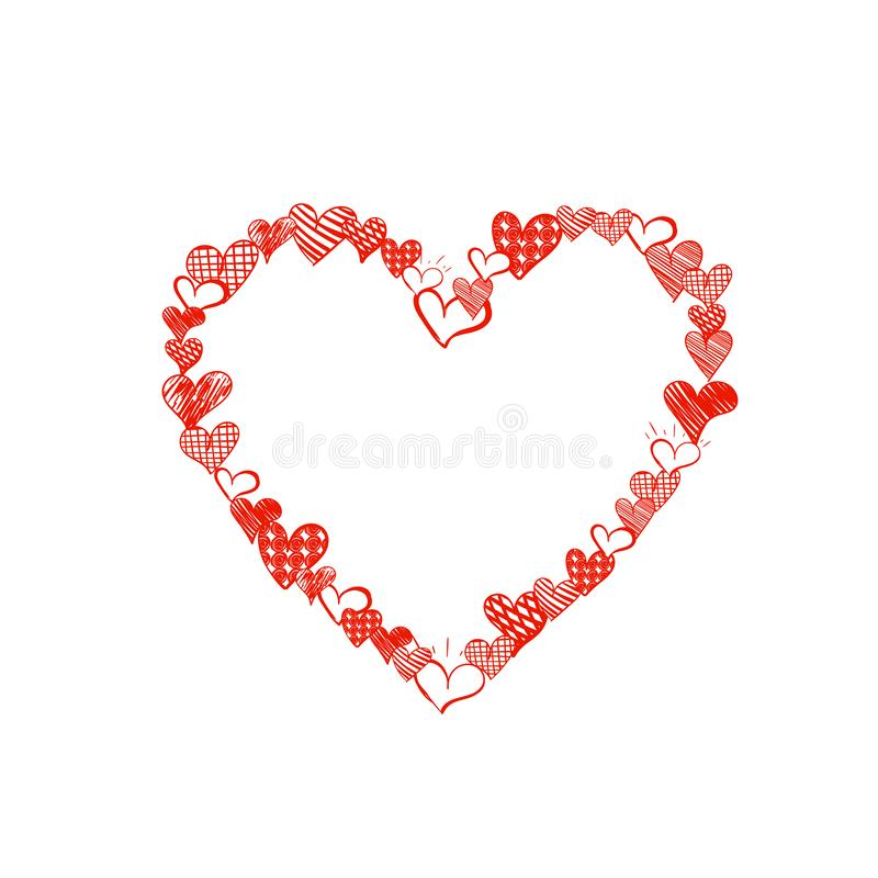 Das Vektor-Gekritzel-Herz, das von den kleinen Herz-Zeichnungen, helle rote Farbe, nette Rahmen-Illustration, leere Schablone gem stock abbildung