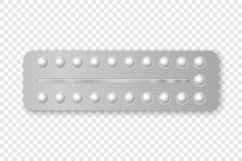 Das Vektor-realistische Verpacken von Anti-Baby-Pillen in der Blasen-Nahaufnahme lokalisierte Empfängnisverhütende Pille, hormona lizenzfreie abbildung
