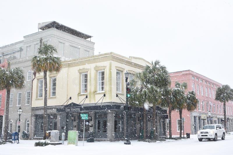 Das Vendue-Hotel Schneesturm von 2018 stockfotografie
