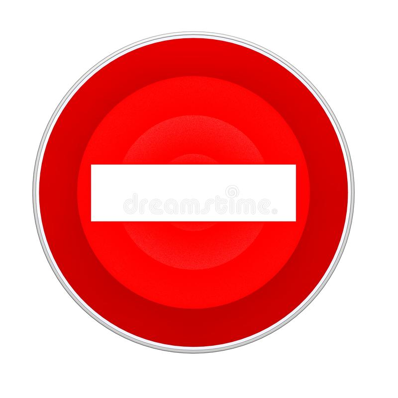 Das Verkehrsschild wird verboten Wiedergabe 3d lizenzfreie abbildung