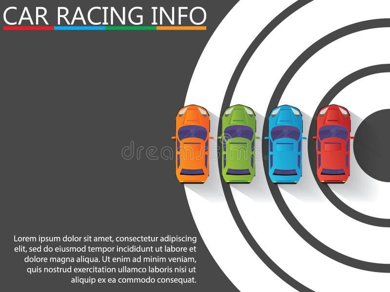 Das vier Farbauto und das Laufen auf dem Weiß kurvten stock abbildung