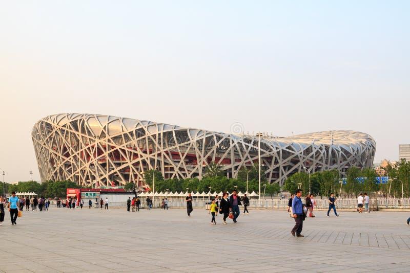 Das Vogel ` s Nest ist ein Stadion, das für Gebrauch während der 2008 Sommer Olympics und Paralympics bestimmt ist lizenzfreies stockbild