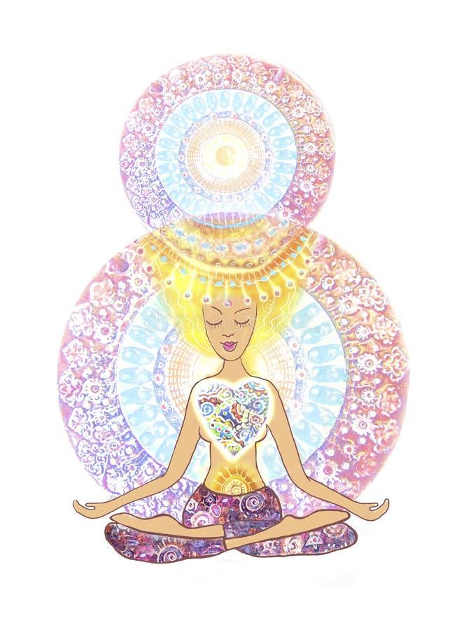 Das 8. von März-Fahne und -plakat YOGA Lotoshaltung Hand gezeichnete Frau, die in der Lotoshaltung von Yoga auf Mandalahintergrun stock abbildung