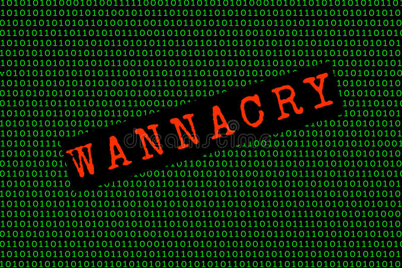 Das wannacry und das binär Code die wannacry und ransomware Konzept Sicherheit lizenzfreie stockfotos