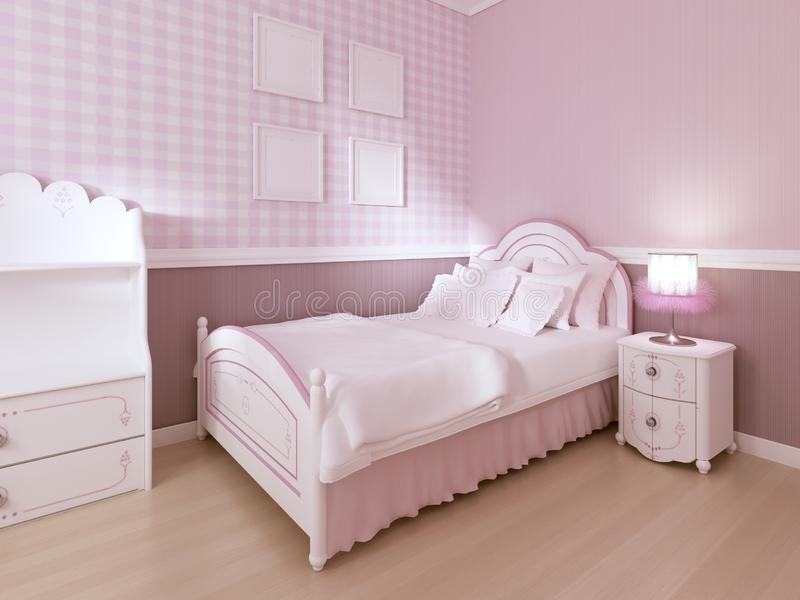 Das weiße Bett der Kinder in einem klassischen Innenraum für eine Jugendlichen in den Pastellfarben vektor abbildung
