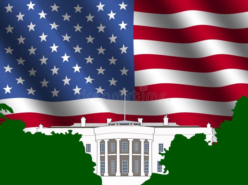 Das Weiße Haus mit amerikanischer Flagge stock abbildung