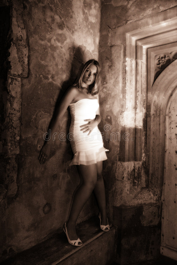 Das Weiße Kleid Im Sepia Stockfotografie