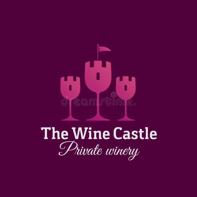 Das Wein-Schloss-Zusammenfassungs-Vektor-Zeichen, das Emblem oder Logo Template Glas-Symbol als Turm-Schattenbild-kreatives Konze lizenzfreie abbildung