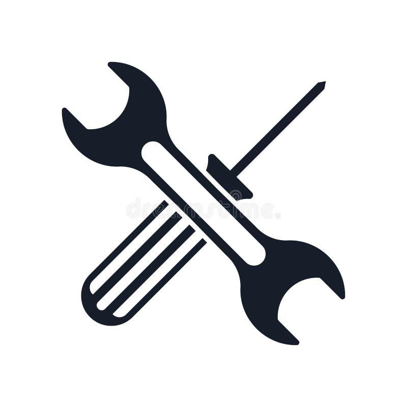 Das Werkzeugikonenvektorzeichen und -symbol, die auf weißem Hintergrund lokalisiert werden, bearbeitet Logokonzept lizenzfreie abbildung