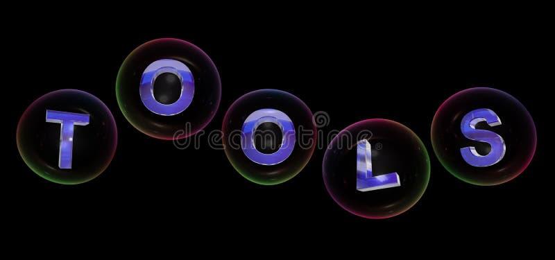 Das Werkzeugwort in der Blase lizenzfreie abbildung