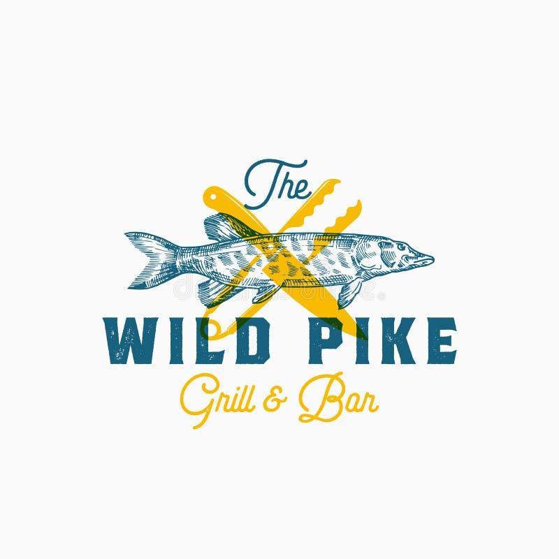 Das wilde Pike Abstraktes Vektor-Zeichen, Symbol oder Logo Template Hand gezeichnete Pike-Fische mit Messer und Zangen und nobles lizenzfreie abbildung