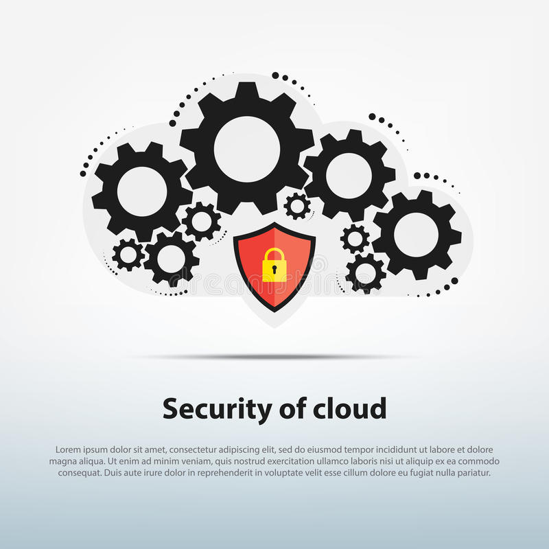 Das Wolkensystem arbeitet mit Schablone der modernen Sicherheit, lizenzfreie stockfotos