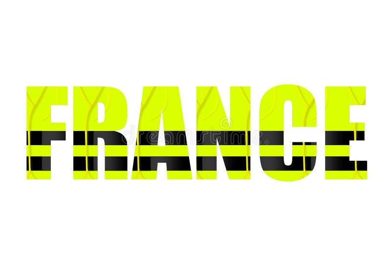 Das Wort 'das Frankreich auf einem weißen Hintergrund Die Buchstaben nach innen des Hintergrundes sind gelbe Signalwesten lizenzfreie abbildung