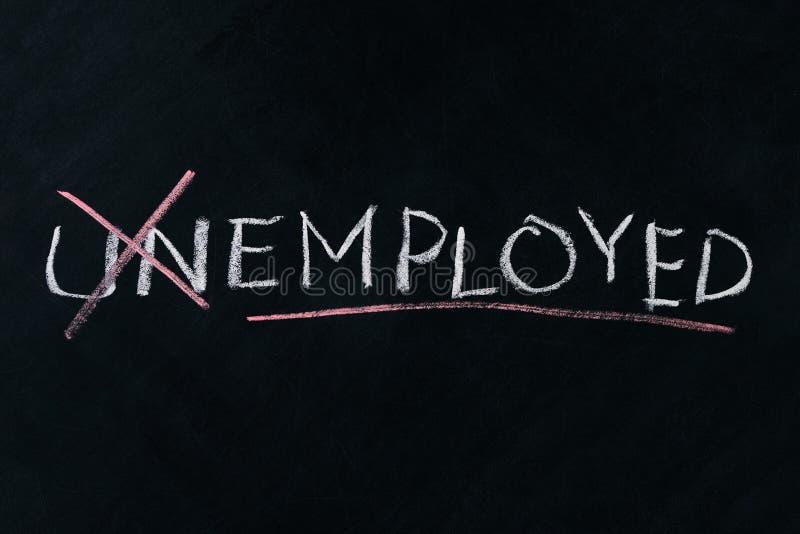 Das Wort arbeitslos drehen in beschäftigt stockfotos