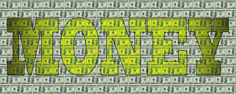 Das Wort GELD auf dem Hintergrund von Dollar stockfoto