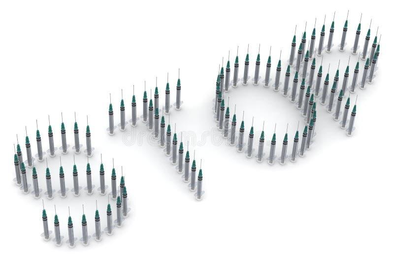 Das Wort HALT gebildet von den medizinischen Spritzen vektor abbildung