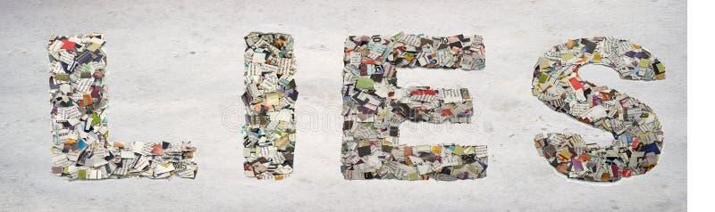 Das Wort LÜGEN gemacht von den Zeitungskonfettis stockbild