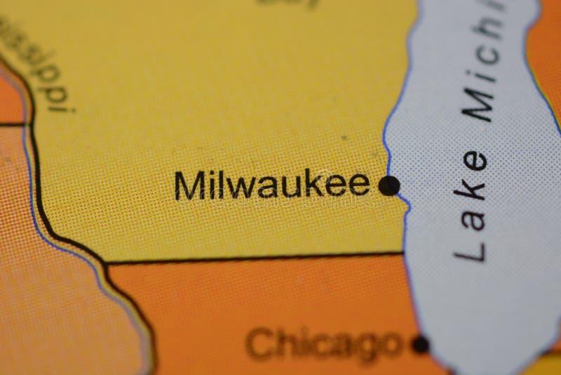 Das Wort MILWAUKEE, USA, auf der Karte lizenzfreie stockfotografie