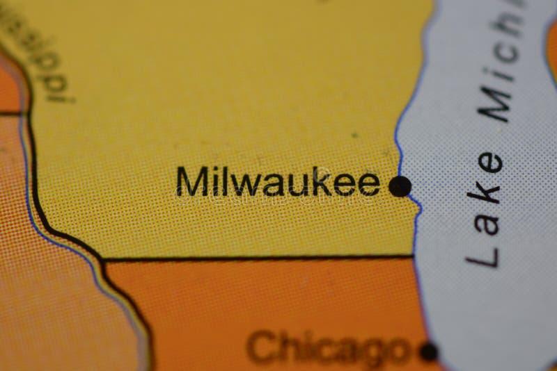 Das Wort MILWAUKEE, USA, auf der Karte lizenzfreies stockbild