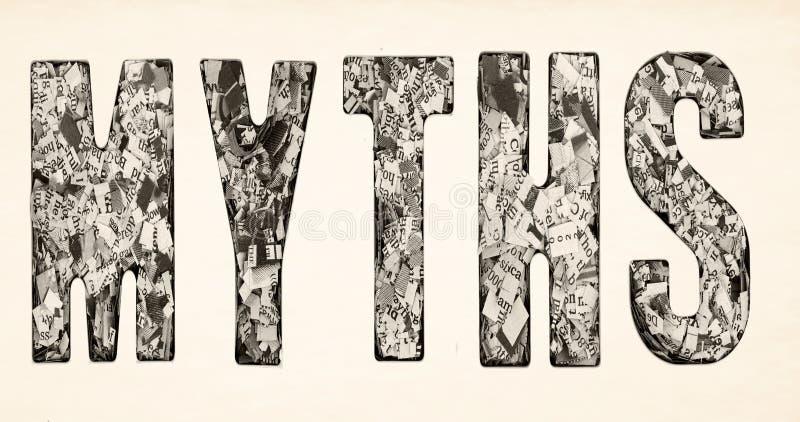 Das Wort MYTHEN bildete von den vielen von Aufschnittzeitung I lizenzfreies stockbild