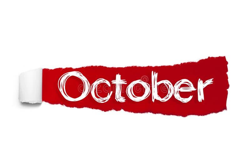Das Wort Oktober, die hinter rotem heftigem Papier erscheint vektor abbildung