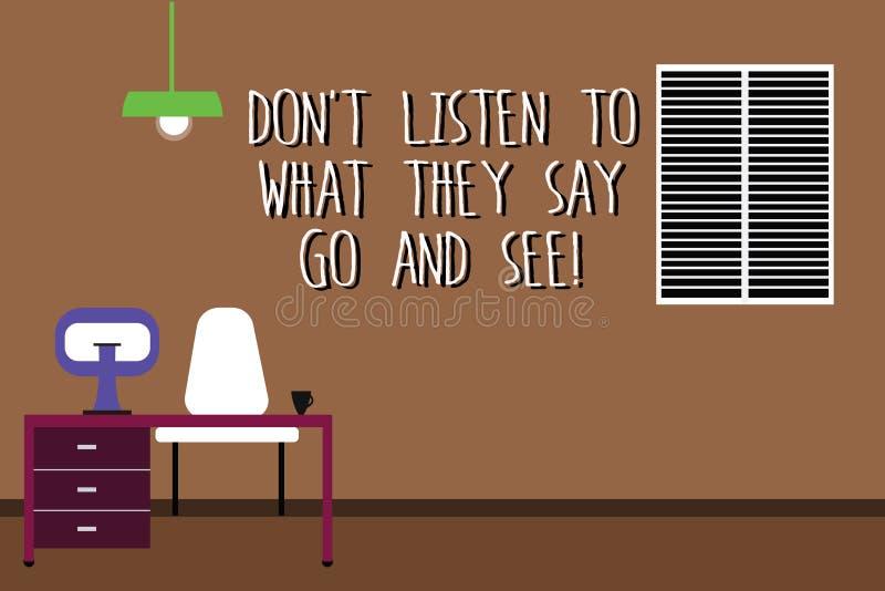Das Wort, das Text Don T schreibt, hören auf, was sie gehen und sehen sagen Geschäftskonzept für Confirm Kontrolle durch selbst W lizenzfreie abbildung