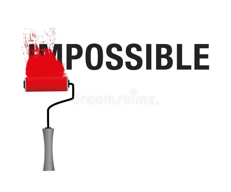 Das Wort unmöglich zu möglichem mit rote Farbschwarztext ändern lizenzfreie abbildung