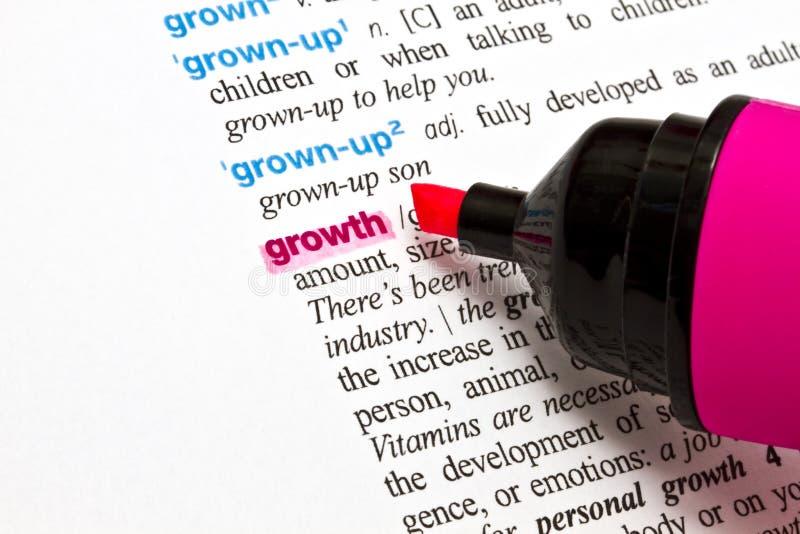 Das Wort - Wachstum lizenzfreie stockbilder