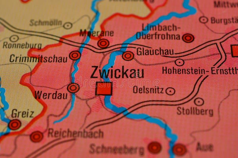 Das Wort ZWICKAU auf der Karte stockbild