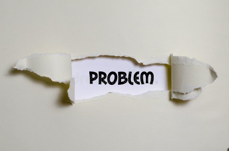 Das Wortproblem, das hinter heftigem Papier erscheint stockbilder