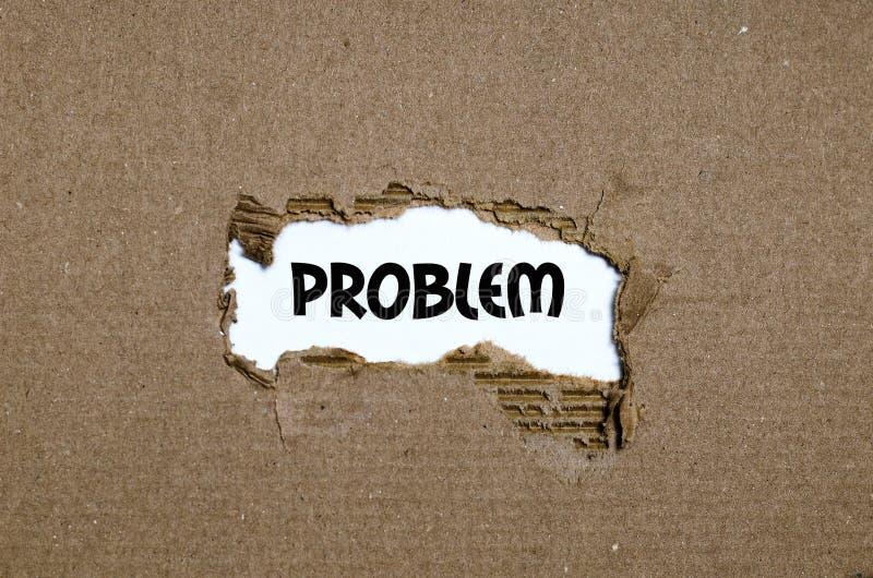 Das Wortproblem, das hinter heftigem Papier erscheint stockbild